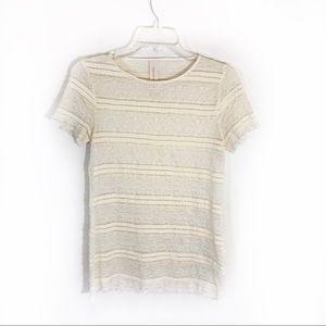 Zara Ivory Lace ruffle stretchy short sleeve top